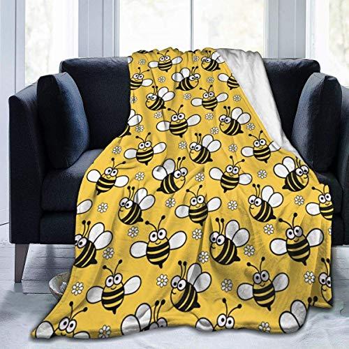 Manta de Felpa Kawaii Baby Bee Alfombra de Lana Gruesa Colchas de sofá para Mujeres Estera de Dormir de Doble Cara Alfombrilla de Franela para el Verano