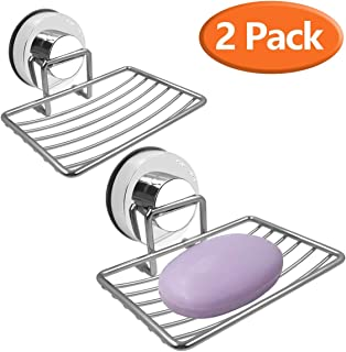 Soap Dish Holder, Stainless Steel Soap Basket with Strong Suction Cup Holder for Bathroom, Shower, Kitchen, Sinks, 2 Packs