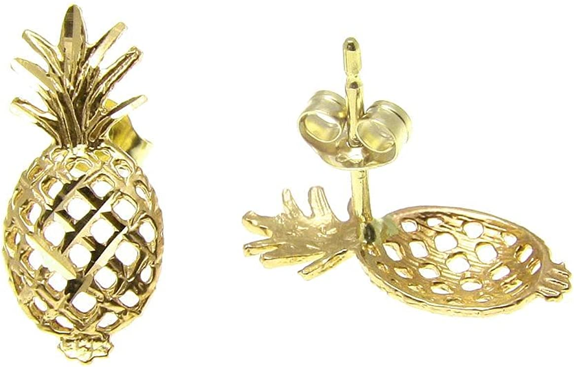 14K solid yellow gold Hawaiian diamond cut pineapple stud post earrings