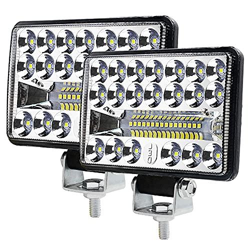 Luz LED de trabajo Offroad Reflector de luz de inundación Faros LED de trabajo Faros delanteros Offroad Lámpara de marcha atrás para automotriz SUV UTV ATV DC12-80V Cuadrado Blanco 5000-6500K