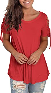 Jescakoo Short Sleeve T Shirts for Women Casual Cold Shoulder Tops