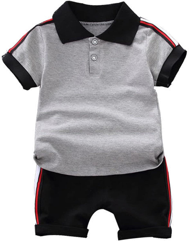 renvena Little Boys Summer Clothes trend rank 2PCS Short Award Stripe Set Sleeve