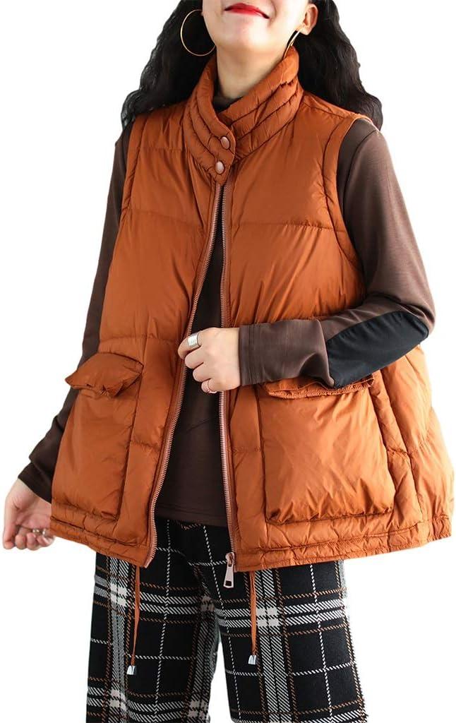 Stylish Womens Jackets Quilted Zip Up Lightweight Padding Vest Herringbone Vest Pockets Parkas Winter Goods Bodywarmer (Color : Orange, Size : Large)