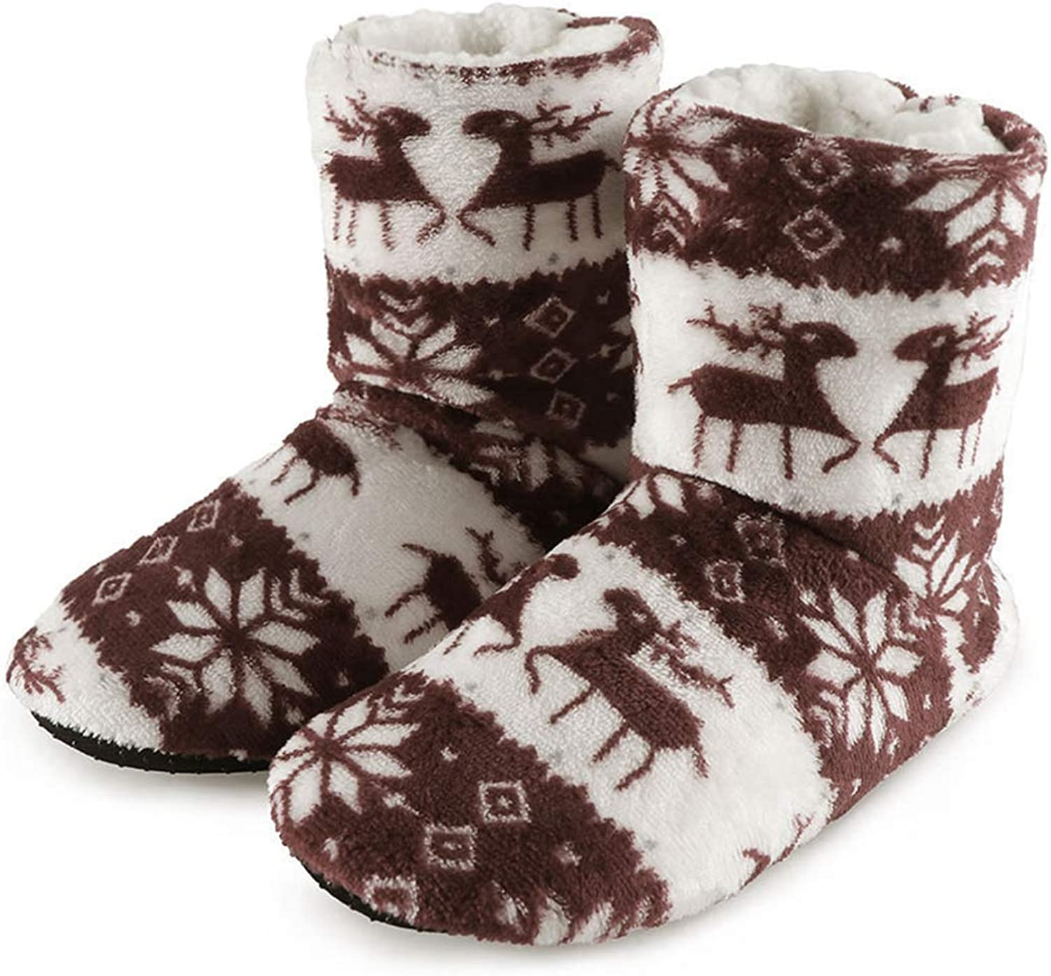Winter Fluffy Slippers Boots Furry Slides Warm Plush Christmas Long Socks House Indoor shoes