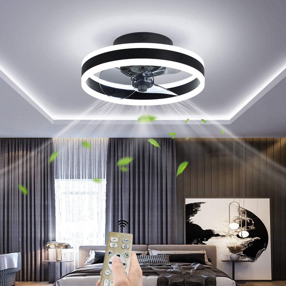 OMGPFR Ø40CM Ventilador de Techo con Luces y Control Remoto, LED 24W Atenuación Moderno Lámpara de Techo, Silencio Iluminación del Ventilador por Sala Cuarto Oficina, Viento de 6 velocidades,Negro