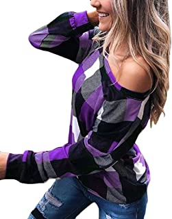 Womens' null Regular-Fit Off The Shoulder Tops Plaid Pullover Shirts Tunic Blouses Sweatshirt
