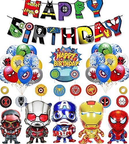 Decoracion Cumpleaños Superheroes Globos de Superhéroe Feliz Cumpleaños del Pancarta Superheroes Adornos de Pastel Superhéroe Marvel Cumpleaños Decoracion
