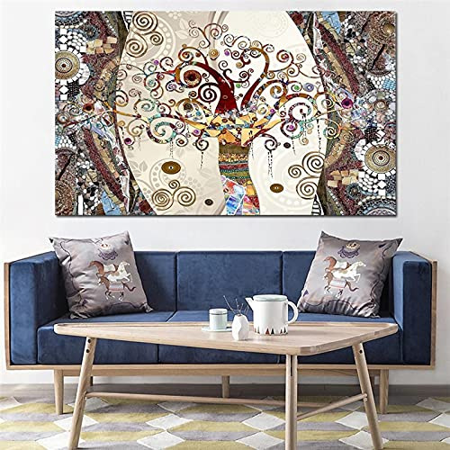 Canvas Painting Vintage Tree of Life Print Abstract Wall Art Pictures for Living Room Tribe Decor Posters and Prints 40X60cm Frameless