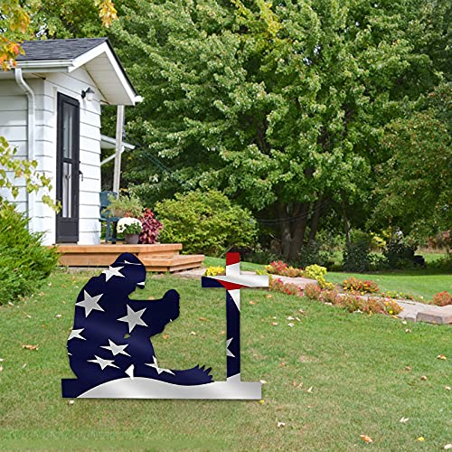 American Flag Kneeling Soldier Garden Statue Art Decor,US Military Kneeling Soldier Silhouette Yard Weathered Flag Ornament for Outdoor Independence Day 4th of July Memorial Day Decoration (D)