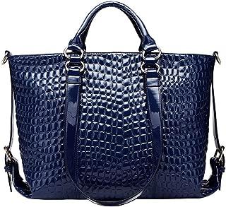 Fashion Women Fashion Solid Color Crocodile Pattern PU (Polyurethane) Leather Handbag Zipper Large Capacity Multi-Function Shoulder Bag Crossbody Bag Motorcycle Bag (Color : Blue)