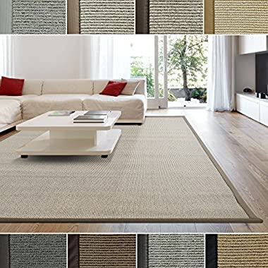iCustomRug Zara Contemporary Synthetic Sisal Rug, Softer Than Natural Sisal Rug, Stain Resistant & Easy To Clean . Beautiful Border Rug in Beige 8 Feet 10 Inches x 12 Feet (9' x 12')