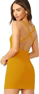 SheIn Women's Criss Cross Backless Off Shoulder Rib-Knit Cami Bodycon Dress