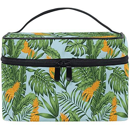 Tropische Ananas-Palme verlässt Palme-Make-upzug-Kasten, der tragbaren kosmetischen Bürsten-Taschen-Speicher des Reißverschlusses trägt