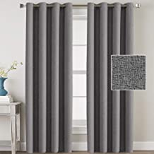 H.VERSAILTEX Linen Blackout Curtains 96 Inches Long Room Darkening Heavy Duty Burlap Efffect Textured Linen Curtains/Draperies/Drapes for Living Room Bedroom - Grey (2 Panels)