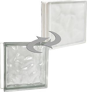 6 piezas BM bloques de vidrio AGUA perla rosa satinado por un lado vidrio mate 19x19x8 cm