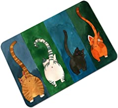 Doormat Indoor Anti Mud Floor Mat Personalized Cat Door Mat Indoor Printed Rubber Backing-Non Slip Washable Thin Door Mat ...