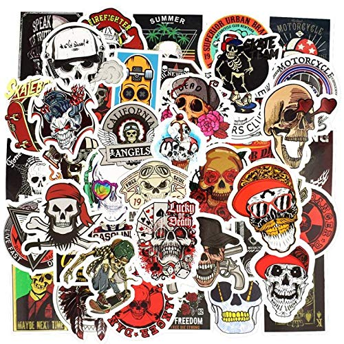 Punk, skeleton, sticker, schedel, rok, motorfiets, stickers, scrapbooking, laptop, skateboard, gitaar, auto, stickers, 50 stuks