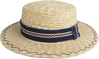 LiWen Zheng Gentleman Sun Hat Straw Short-wing Flat Hat Ladies Church Cloche Hat Women's Summer Panama Beach Hat Men's Dark Blue Cloth