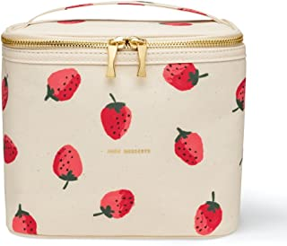 Kate Spade New York Insulated Soft Cooler Lunch Tote with Double Zipper Close and Carrying Handle, Strawberries