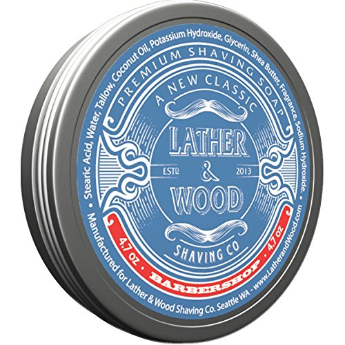 Price comparison product image Lather & Wood Shaving Soap - Barbershop - Simply The Best Luxury Shaving Cream - Tallow - Dense Lather with Fantastic Scent for The Worlds Best Wet Shaving Routine. 4.7 oz (Barbershop)