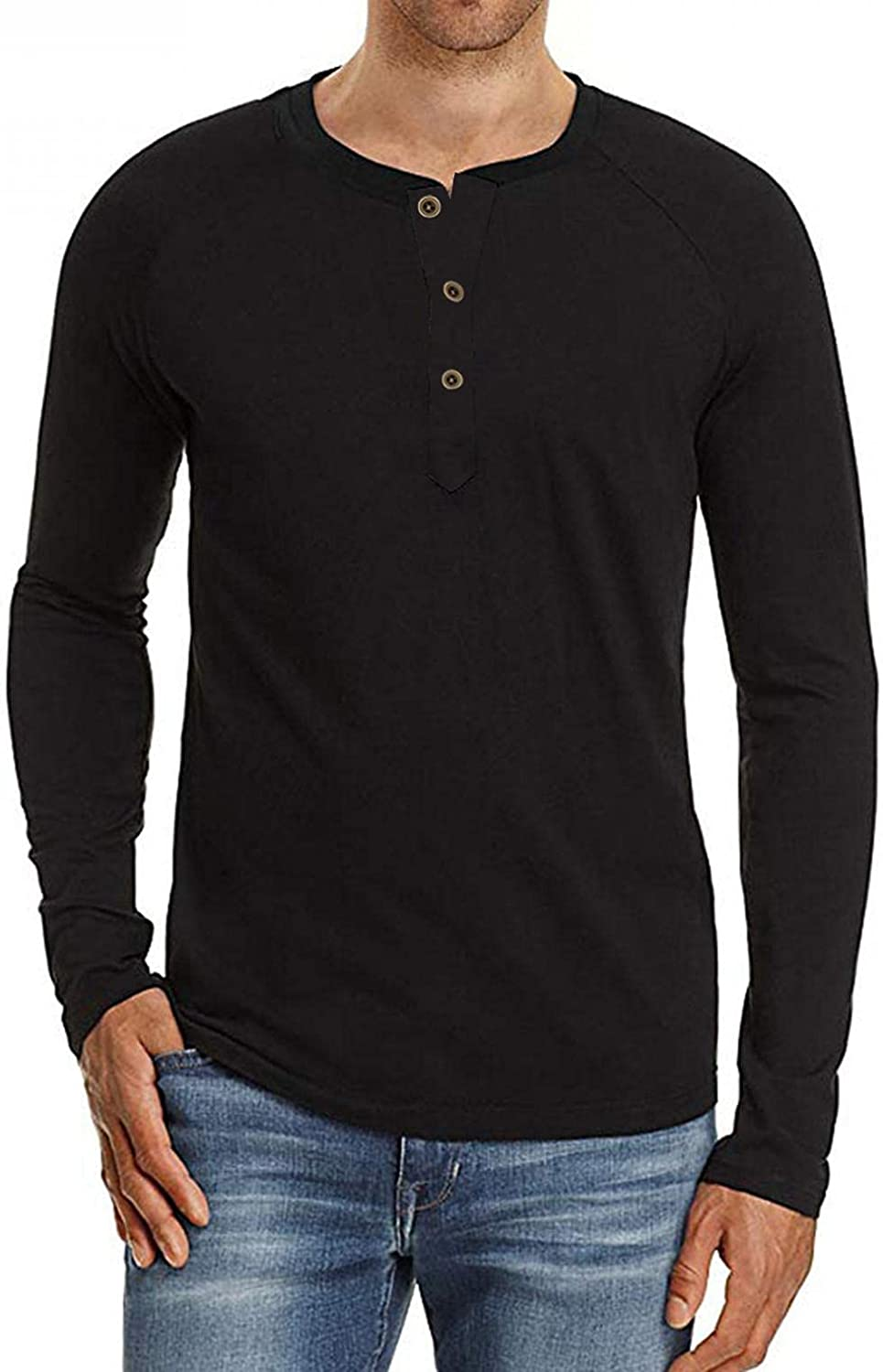 Mens Henley Shirts Solid Long Sleeve Button Down Tops Casual Loose Fit Pullover Blouse Classic Outdoor Running Tees