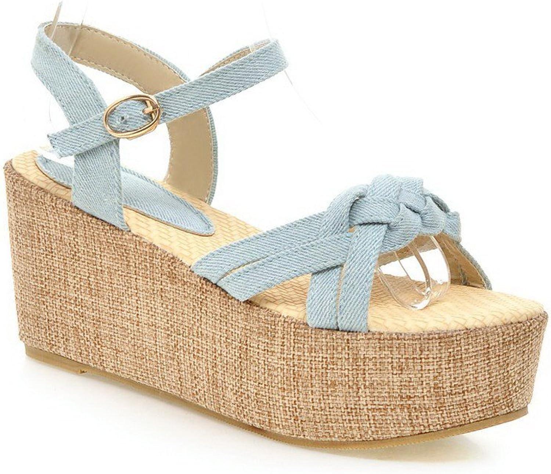 AmoonyFashion Women's Solid Denim High Heels Open Toe Buckle Sandals