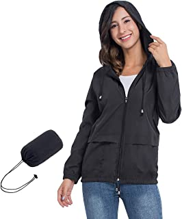 JTANIB Women's Lightweight Hooded Waterproof Raincoat...