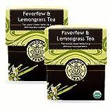 Feverfew & Lemongrass Tea - Organic Herbs - 2 Pack (36 Tea Bags)