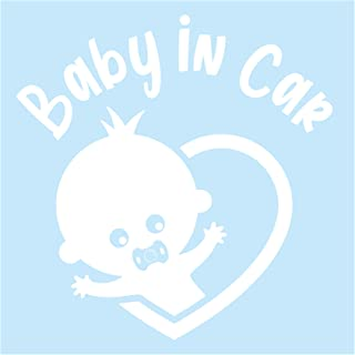 Pegatina para coche con diseño de bebé en el coche (resistente a la intemperie, resistente al agua, color blanco brillante, chupete)