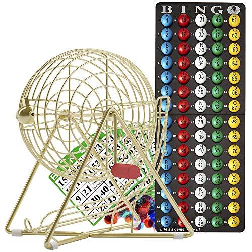 MR CHIPS Professional Bingo Set with Bingo Cage, Bingo Balls, Bingo Board, Bingo Cards, and Bingo Chips - Luxury Gold