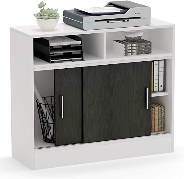 Tribesigns Tall File Cabinet With Sliding Doors Modern Office Storage Cabinet Large Printer Stand With Storage Shelves For Home Office