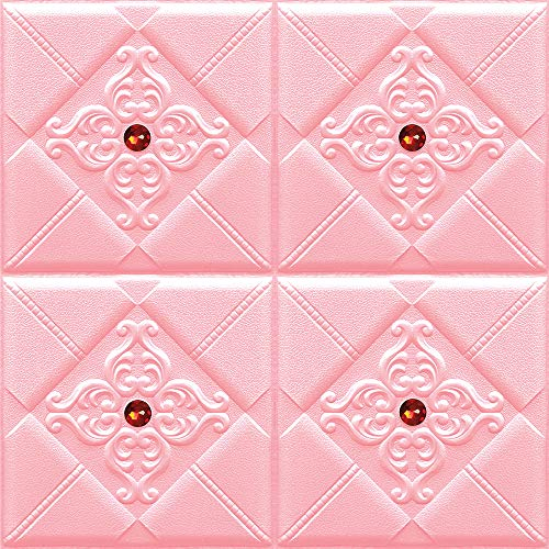 ZXGQF 3D Wall Panels, Self-Adhesive Faux Foam Bricks, 10pcsDIY Peel and Stick Paneling Textured 3D Wall Design Easy Installation, for Kitchen, Living Room Home Decoration (Pink C,60cmx60cmx8mm)