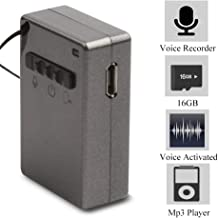 Mini Digital Voice Recorder, Dedatre Square Mp3 Voice Activated Recording Device Connected to 3.5mm Headphone Playback, 16GB Memory, 160mAh Battery, Suitable for Lectures,Conferences,Play Music,Gray