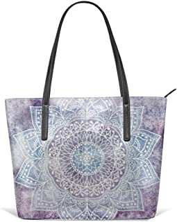 Deep purple mandala u Leather Tote Large Purse Shoulder Bag Portable Storage HandBags Convenient Shoppers Tote