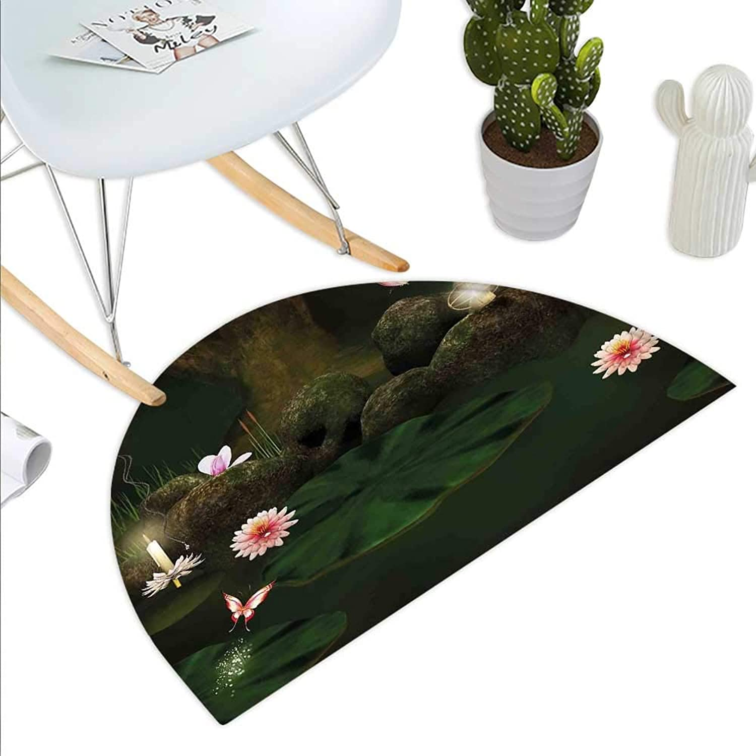 Magical Semicircle Doormat Mystical Secret Place Deep Dark in Forest with Butterflies and Flowers Zen Image Halfmoon doormats H 35.4  xD 53.1  Green Brown