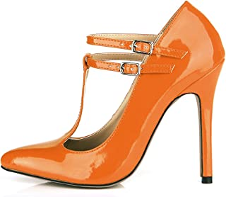 CHMILE CHAU Women Dress Pumps with Buckle Sexy Stiletto High Heels Pointed Toe T-Strap Ladies Shoes