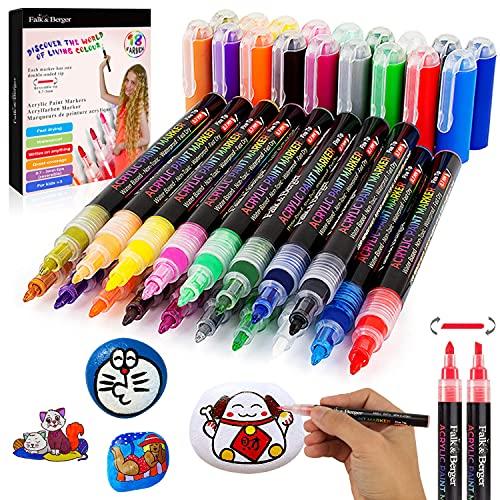 Falk & Berger® 18 Acrylstifte für Steine bemalen. Farbenfroh und massiv deckend mit einer 0,7-3 mm umdrehbaren Spitze - Permanent Marker - Acrylfarben Stifte wasserfest