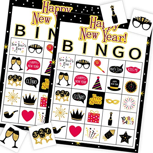 Funnlot New Year Eve Bingo Game 24 Players New Year Games for Party New Year Games for Kids New Year Bingo Game Cards for School Party Supplies for Family Classroom Activities New Year Party Favors
