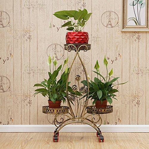 Intérieur Extérieur Coin Fleur Pot Stand Avec Roues Maison Jardin Patio Décor Présentoir Étagère De Stockage De Fer 3 Tier ( Couleur : Le jaune )