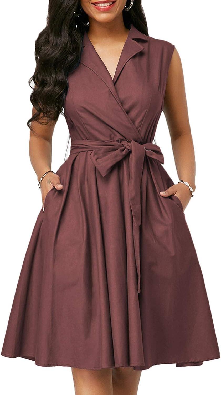 Flygo Womens Summer Casual Sleeveless High Waist A-Line Mid Length Dress