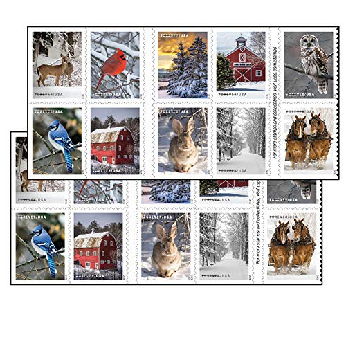 Winter Scenes Forever Postage Stamps 2 Books of 20 First Class US Postal Holiday Celebrations Wedding Celebration Anniversary Traditions (40 Stamps)
