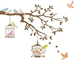 DECOWALL DW-1510BR Pájaros en la Rama de un Árbol con Jaulas para Pájaros Vinilo Pegatinas Decorativas Adhesiva Pared Dormitorio Salón Guardería Habitación Infantiles Niños Bebés (Marrón)