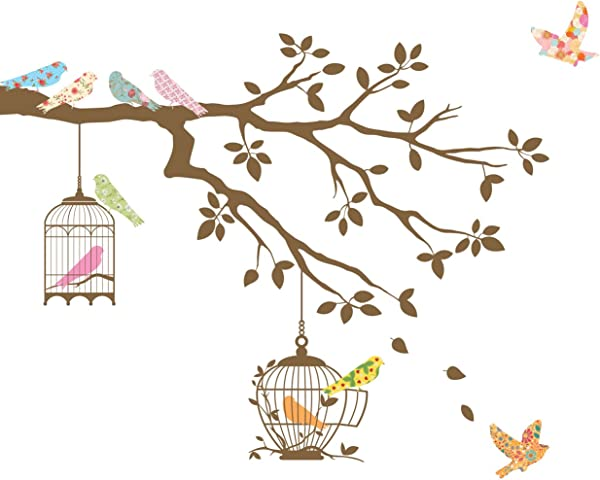 Decowall DW 1510BR Birds On Tree Branch With Bird Cages Kids Wall Decals Wall Stickers Peel And Stick Removable Wall Stickers For Kids Nursery Bedroom Living Room Brown