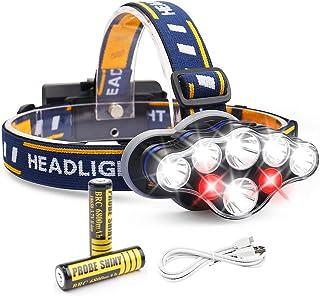 Giravic Lámpara Frontal LED, Súper Brillante Recargable Linterna Frontal de 8 LED 13000LM, Impermeable 8 Modos Cambiar Faro, Perfecto para Senderismo al Aire Libre, Ciclismo, Correr, Pescar, Campismo,