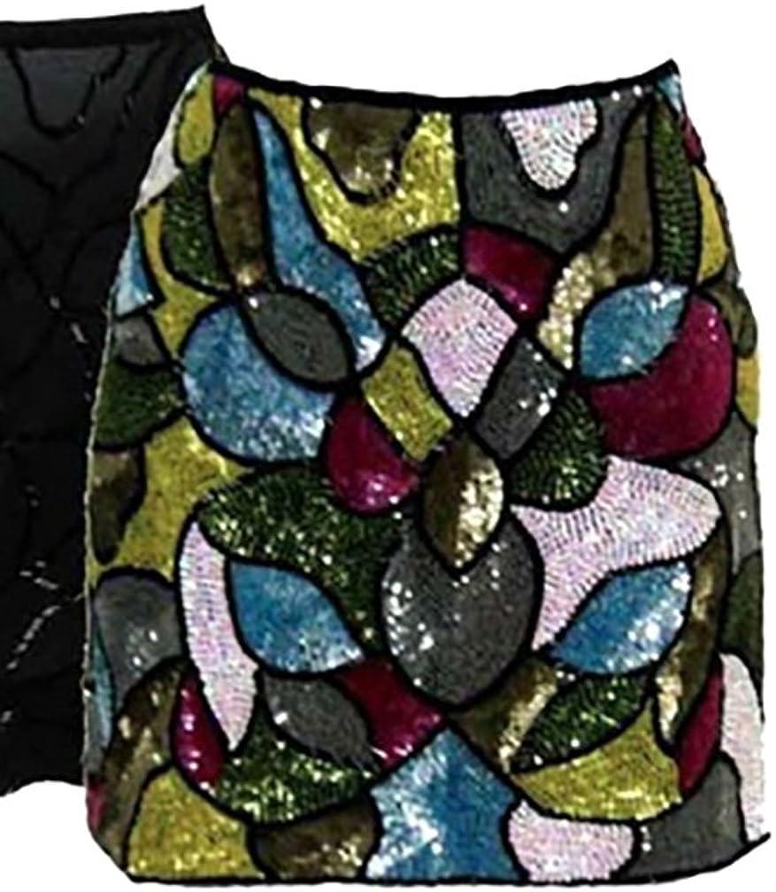 Single Dress by Galina Sobolev Silk Beaded Sequin Mini Disco Skirt in Multi