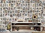 Antiguo periódico inglés alfabeto bar restaurante pared de ladrillo para paredes murales papel tapiz Pared Pintado Decoración dormitorio Fotomural sala sofá mural dormitorio background-400cm×280cm