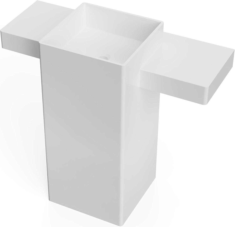 ADM Rectangular Freestanding Outlet ☆ Free Shipping Pedestal Stone Wh Resin Sink Matte New Shipping Free