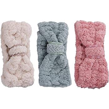 Lurrose 3 pezzi fascia Spa trucco fasce donne corallo del vello dei capelli cosmetici fascia per capelli copricapo per lo yoga lavaggio viso doccia
