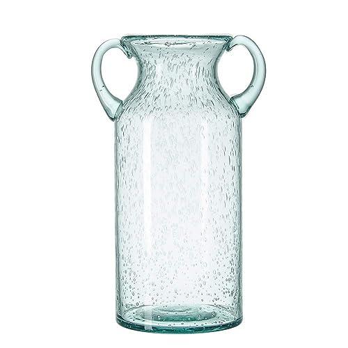 Flower Vase Glass Elegant Double Ear Decorative Handmade Air Bubbles Bluish Color Glass Vase for Centerpiece Home Decor (Large)