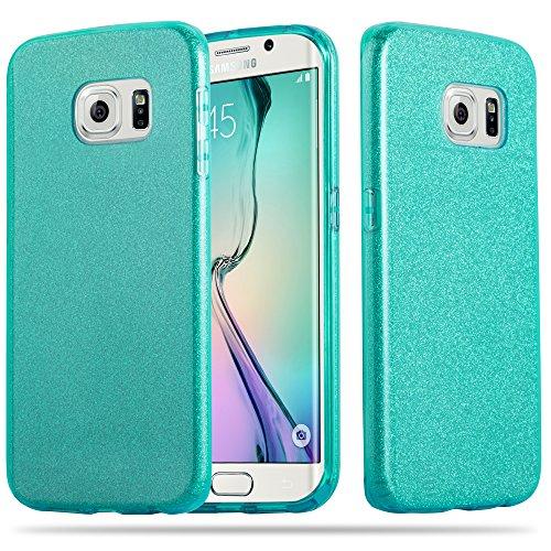 Cadorabo Hülle für Samsung Galaxy S6 Edge - Hülle in Sternenstaub TÜRKIS – TPU Silikon und Hardcase Handyhülle im Glitzer Design - Hard Case TPU Silikon Schutzhülle
